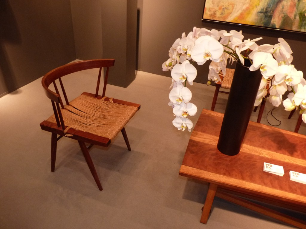 Get down low with art and comfort with this Nakashima chair and a matching table by an unknown American craftsman and capture an intimate tea time on a level of true communication