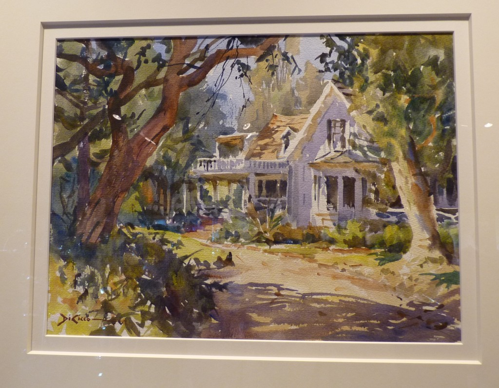 "Stowe House (by Gil DiCicco, watercolor, 12""x16"" $5,300) is a study in light by watercolor his current preference, which is both skillful and handles light exceptionally well, if only the photo could show it better."