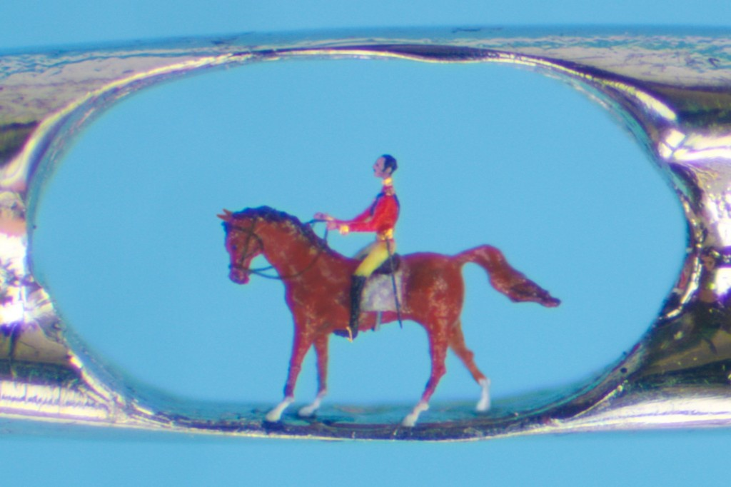 Willard Wigan's portrayal of Prince Albert on a horse is smaller than the eye of a needle so how did he do this microart and is it more than a stunt?