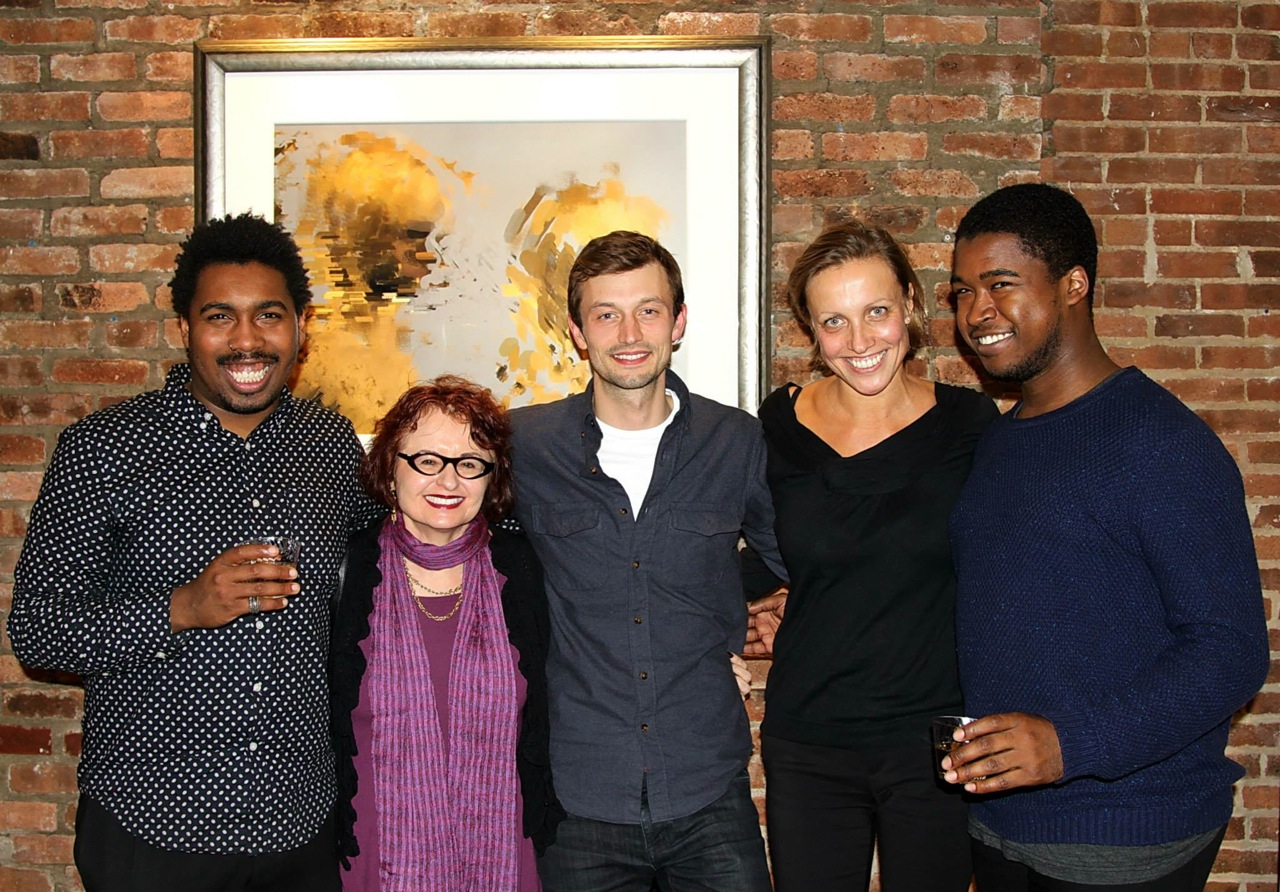 Vica Miller and her four poets (photographer unknown)