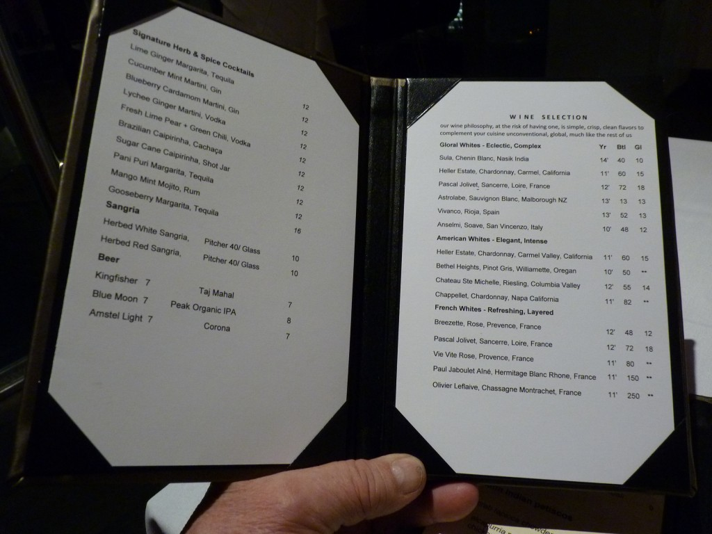 nice range of signature herb and spice cocktails are on the drinks ...